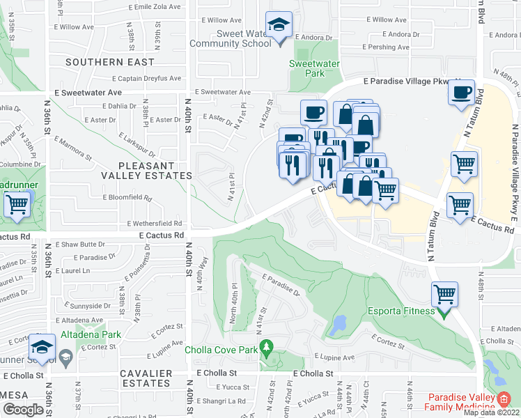 map of restaurants, bars, coffee shops, grocery stores, and more near 4202 East Cactus Road in Phoenix