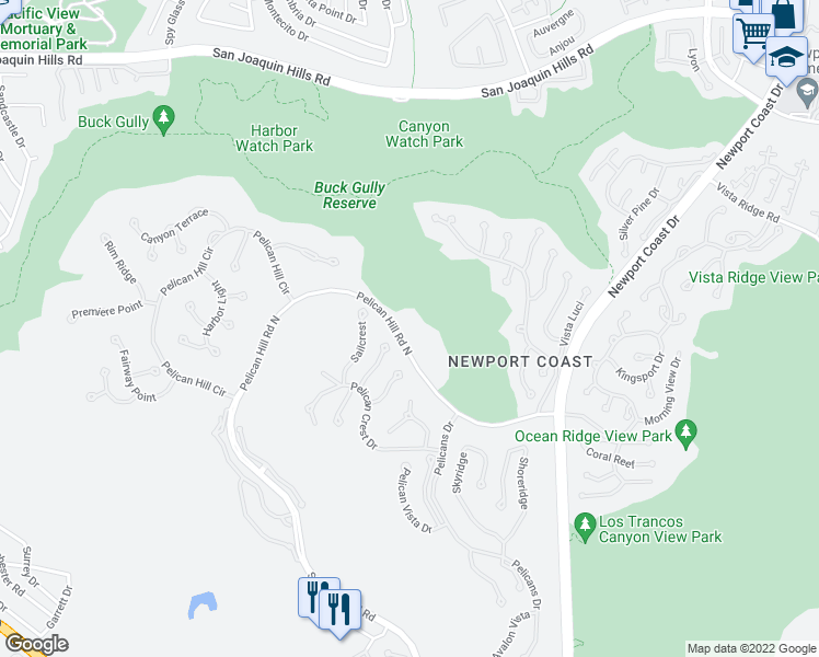 map of restaurants, bars, coffee shops, grocery stores, and more near 1 Pelican Hill Road North in Newport Beach