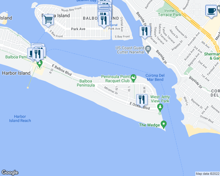 map of restaurants, bars, coffee shops, grocery stores, and more near 1530 Miramar Drive in Newport Beach