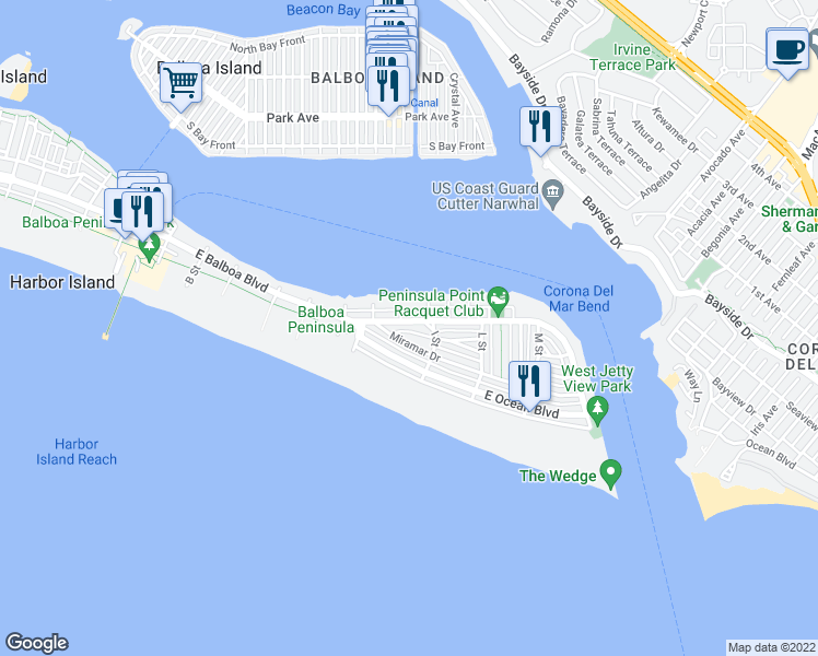 map of restaurants, bars, coffee shops, grocery stores, and more near 1609 East Balboa Boulevard in Newport Beach