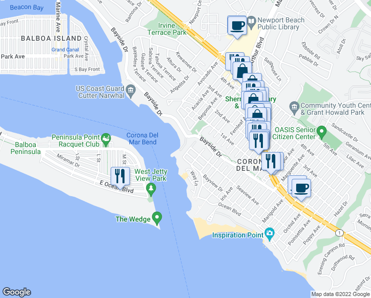 map of restaurants, bars, coffee shops, grocery stores, and more near 223 Carnation Avenue in Newport Beach