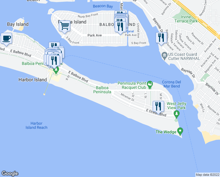 map of restaurants, bars, coffee shops, grocery stores, and more near 1402 East Balboa Boulevard in Newport Beach