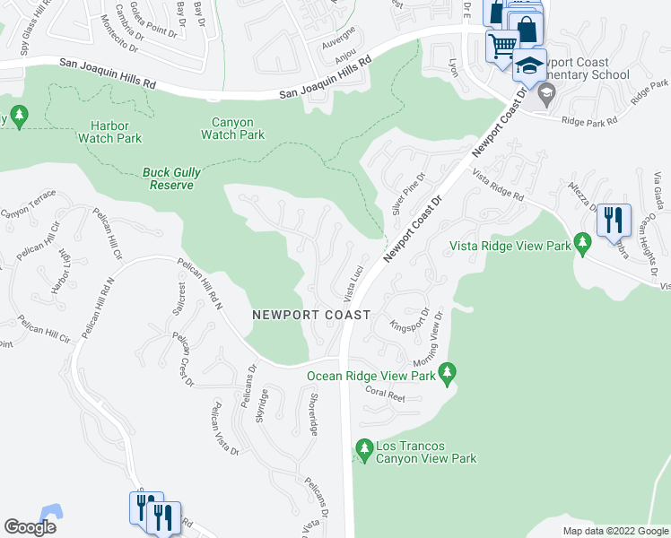 map of restaurants, bars, coffee shops, grocery stores, and more near 19 Vista Tramonto in Newport Beach