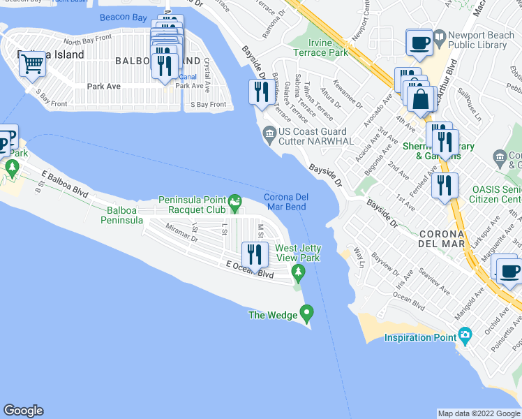 map of restaurants, bars, coffee shops, grocery stores, and more near 2112 East Balboa Boulevard in Newport Beach
