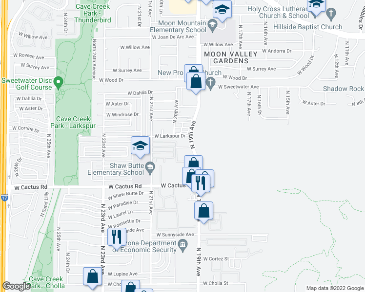 map of restaurants, bars, coffee shops, grocery stores, and more near 12440 North 19th Avenue in Phoenix