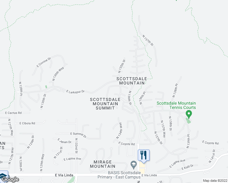 map of restaurants, bars, coffee shops, grocery stores, and more near 13471 East Columbine Drive in Scottsdale