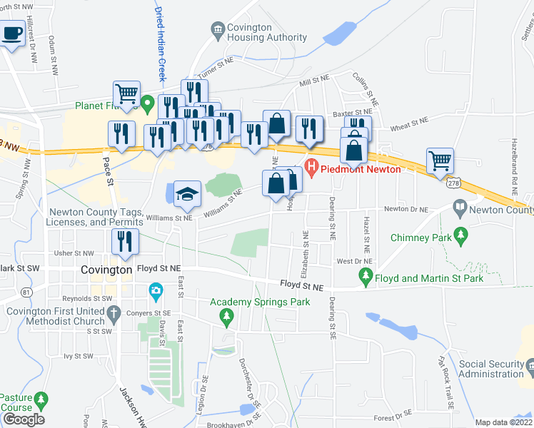 map of restaurants, bars, coffee shops, grocery stores, and more near 4106 Mill Street Northeast in Covington