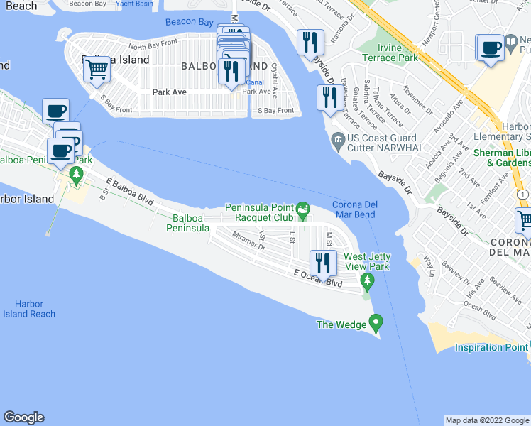 map of restaurants, bars, coffee shops, grocery stores, and more near 1709 East Bay Avenue in Newport Beach