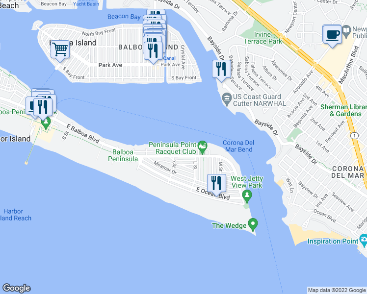 map of restaurants, bars, coffee shops, grocery stores, and more near 1805 East Bay Avenue in Newport Beach