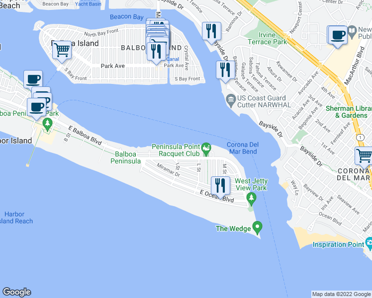 map of restaurants, bars, coffee shops, grocery stores, and more near 1803 East Bay Avenue in Newport Beach