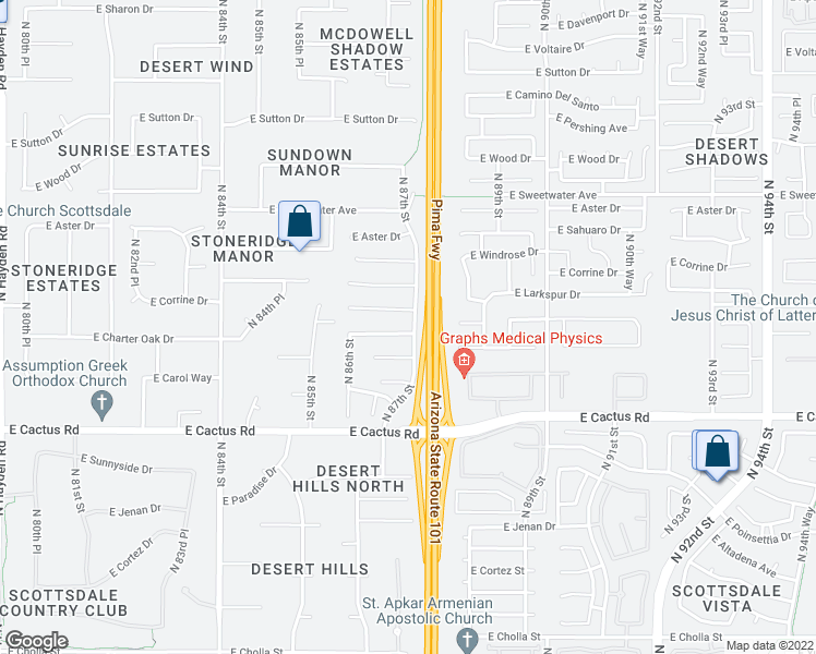 map of restaurants, bars, coffee shops, grocery stores, and more near 8696 East Larkspur Drive in Scottsdale