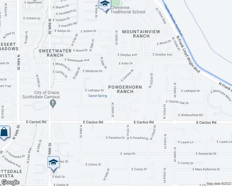 map of restaurants, bars, coffee shops, grocery stores, and more near 10025 East Larkspur Drive in Scottsdale