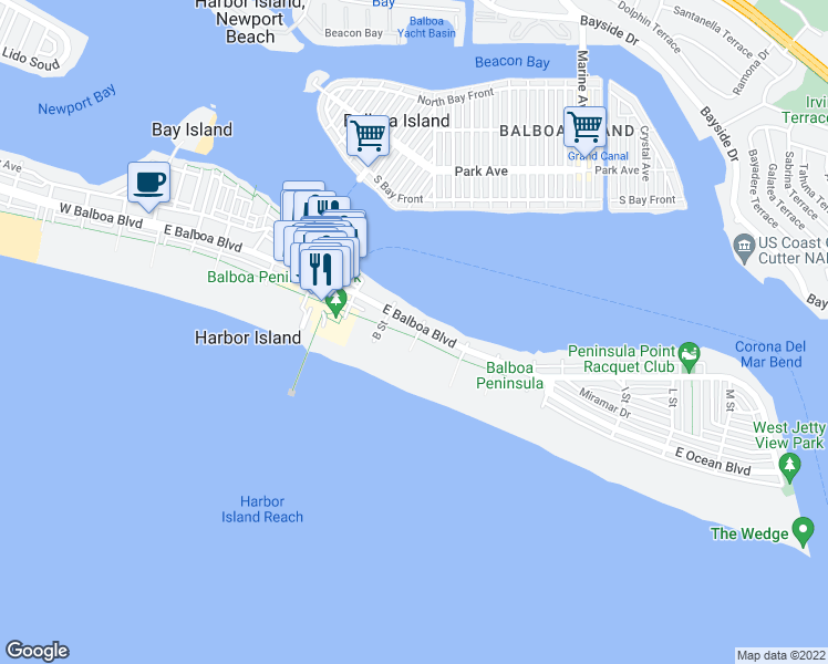 map of restaurants, bars, coffee shops, grocery stores, and more near 1023 East Balboa Boulevard in Newport Beach