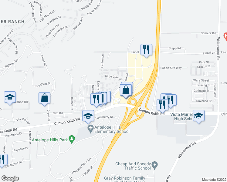 map of restaurants, bars, coffee shops, grocery stores, and more near 27580 Darrington Avenue in Murrieta