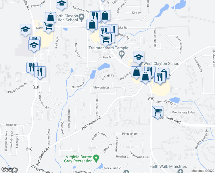 map of restaurants, bars, coffee shops, grocery stores, and more near 1409 Isleworth Circle in Atlanta