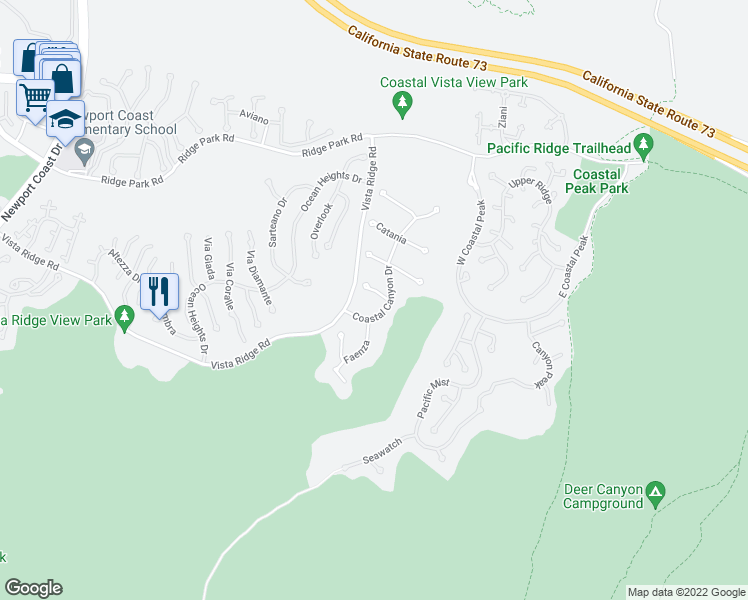 map of restaurants, bars, coffee shops, grocery stores, and more near 8 Dolomiti in Newport Beach