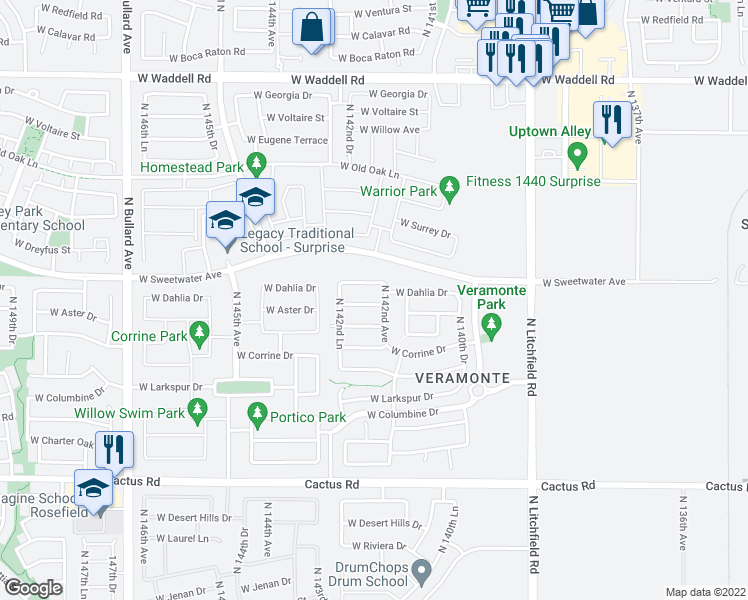 map of restaurants, bars, coffee shops, grocery stores, and more near 14214 West Aster Drive in Surprise
