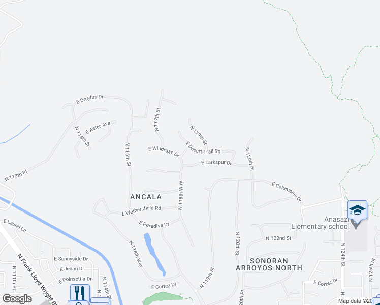 map of restaurants, bars, coffee shops, grocery stores, and more near 11809 East Desert Trail Road in Scottsdale