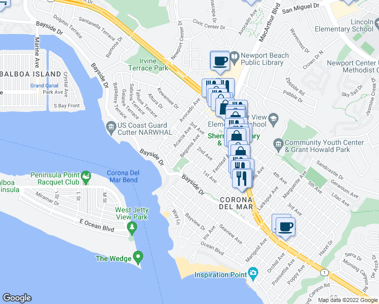 map of restaurants, bars, coffee shops, grocery stores, and more near 434 Begonia Avenue in Newport Beach