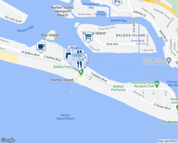 map of restaurants, bars, coffee shops, grocery stores, and more near 912 East Balboa Boulevard in Newport Beach