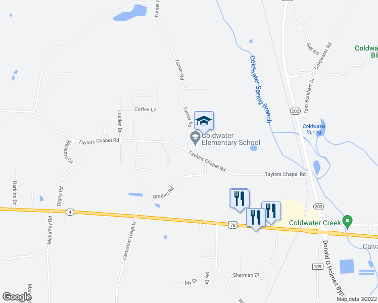 map of restaurants, bars, coffee shops, grocery stores, and more near 535 Taylors Chapel Road in Anniston