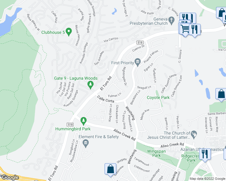 map of restaurants, bars, coffee shops, grocery stores, and more near 101 Fulmar Lane in Aliso Viejo