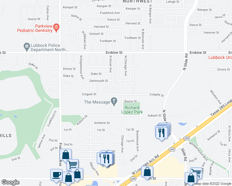 map of restaurants, bars, coffee shops, grocery stores, and more near 301 North Clinton Avenue in Lubbock