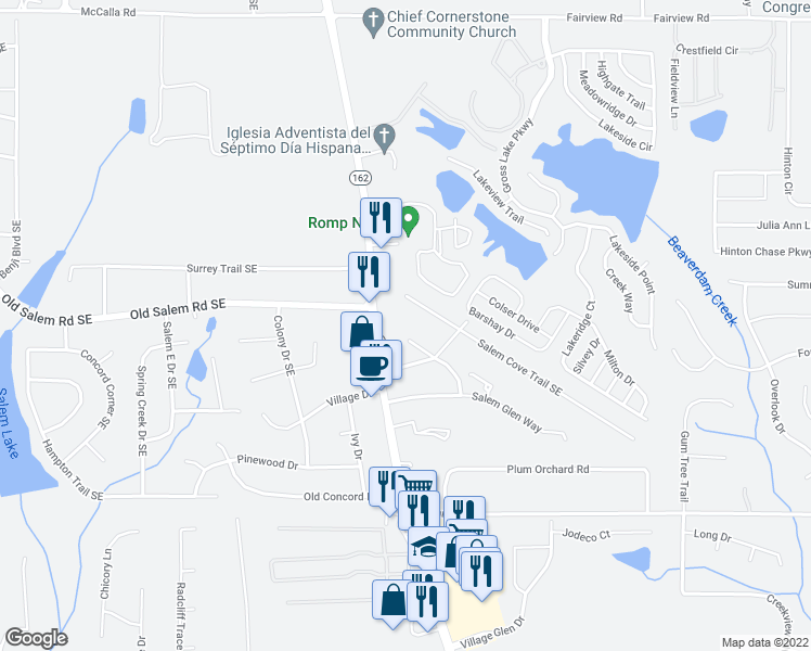 map of restaurants, bars, coffee shops, grocery stores, and more near 3211 Salem Cove Way Southeast in Conyers