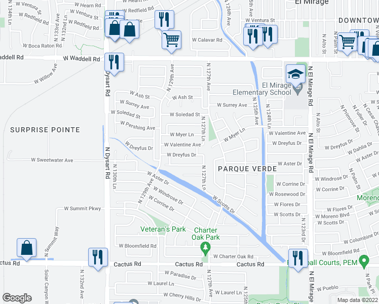 map of restaurants, bars, coffee shops, grocery stores, and more near 12754 West Dreyfus Drive in El Mirage