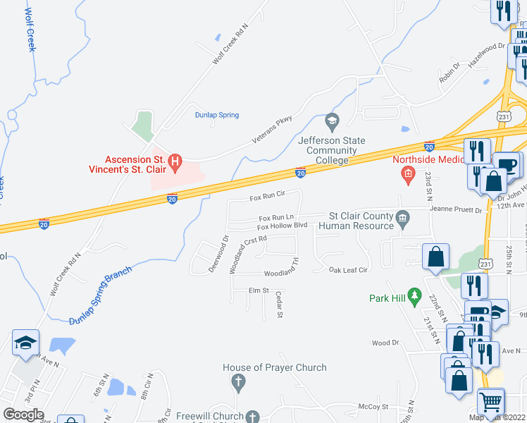map of restaurants, bars, coffee shops, grocery stores, and more near 530 Fox Run Circle in Pell City