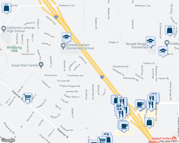 map of restaurants, bars, coffee shops, grocery stores, and more near 23313 Trillium Drive in Wildomar