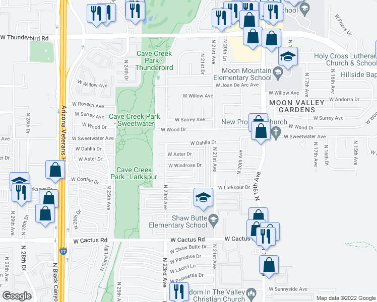 map of restaurants, bars, coffee shops, grocery stores, and more near 2208 West Aster Drive in Phoenix