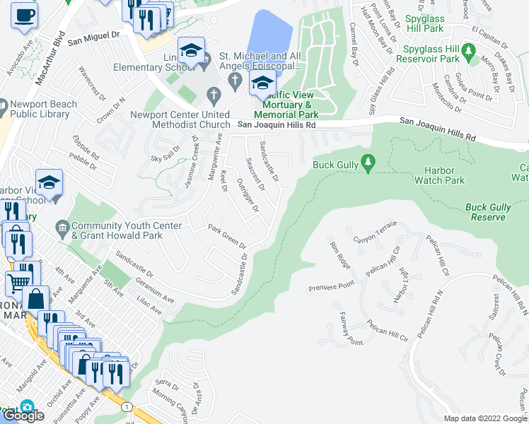 map of restaurants, bars, coffee shops, grocery stores, and more near 1214 Outrigger Drive in Newport Beach