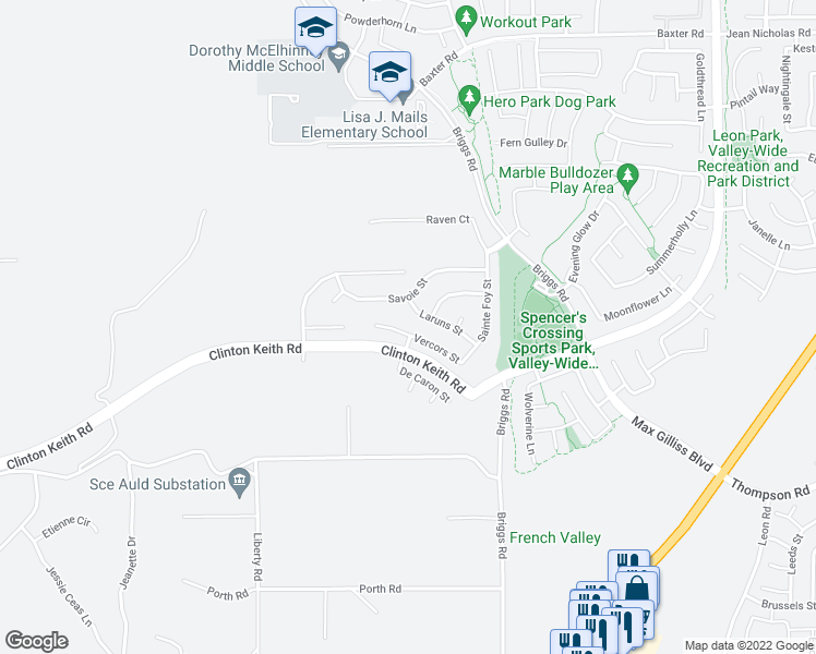 map of restaurants, bars, coffee shops, grocery stores, and more near 30292 Vercors Street in Murrieta