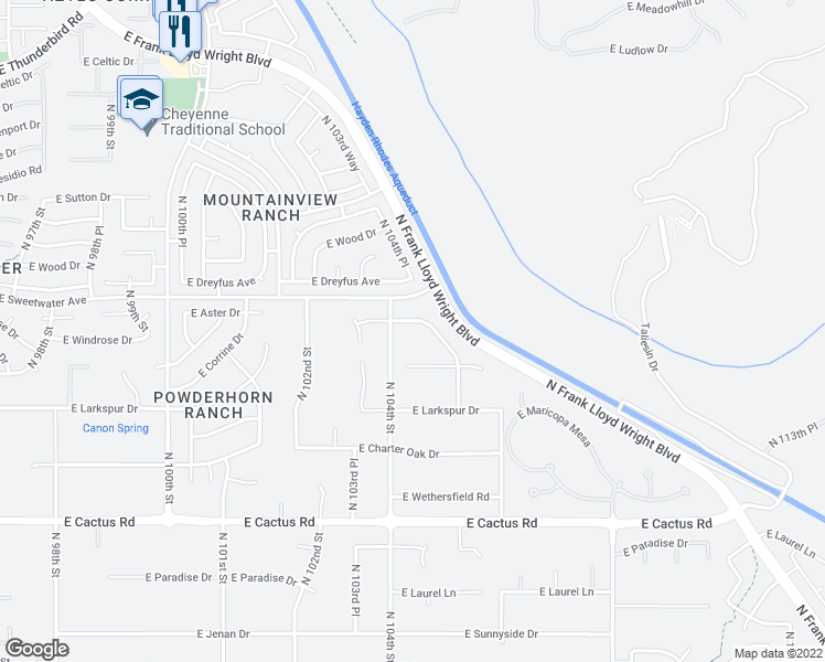 map of restaurants, bars, coffee shops, grocery stores, and more near 10443 East Corrine Drive in Scottsdale