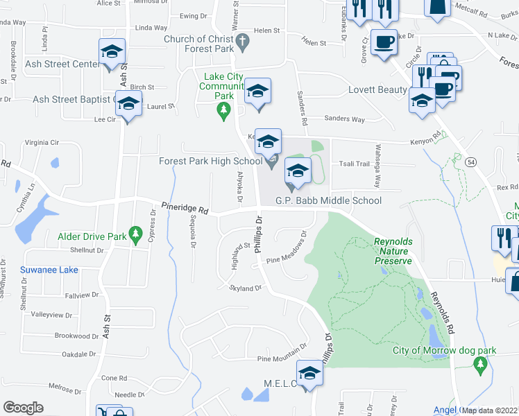 map of restaurants, bars, coffee shops, grocery stores, and more near 5553 Phillips Drive in Forest Park