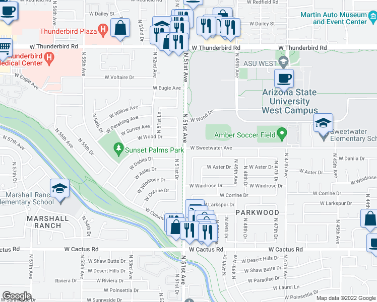 map of restaurants, bars, coffee shops, grocery stores, and more near 5065 West Sweetwater Avenue in Glendale