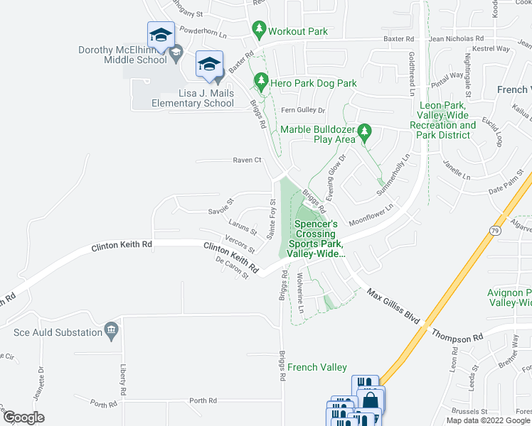 map of restaurants, bars, coffee shops, grocery stores, and more near 30443 Terrain Street in Murrieta