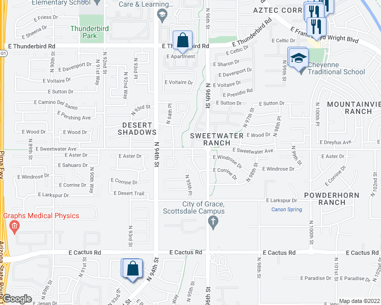 map of restaurants, bars, coffee shops, grocery stores, and more near 9554 East Windrose Drive in Scottsdale