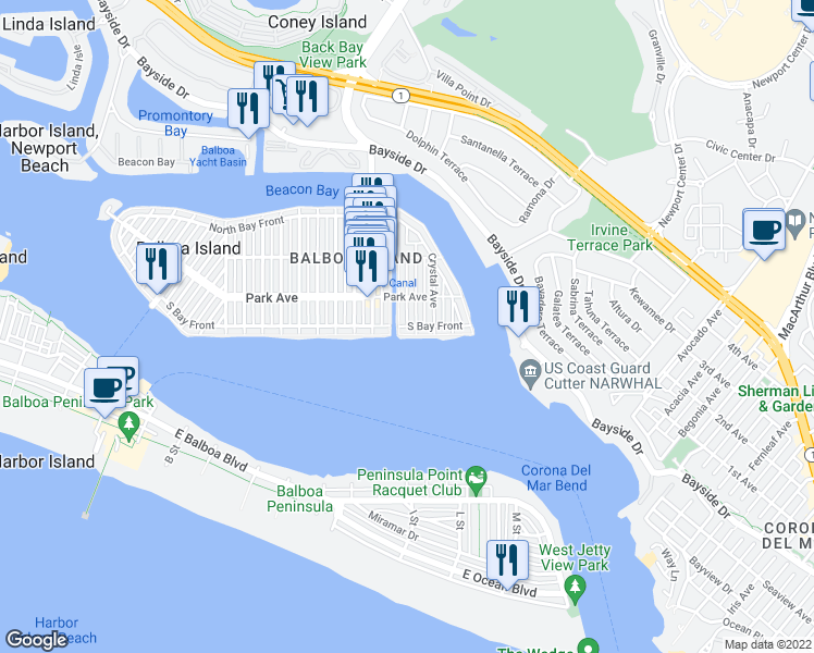 map of restaurants, bars, coffee shops, grocery stores, and more near 100 Grand Canal in Newport Beach