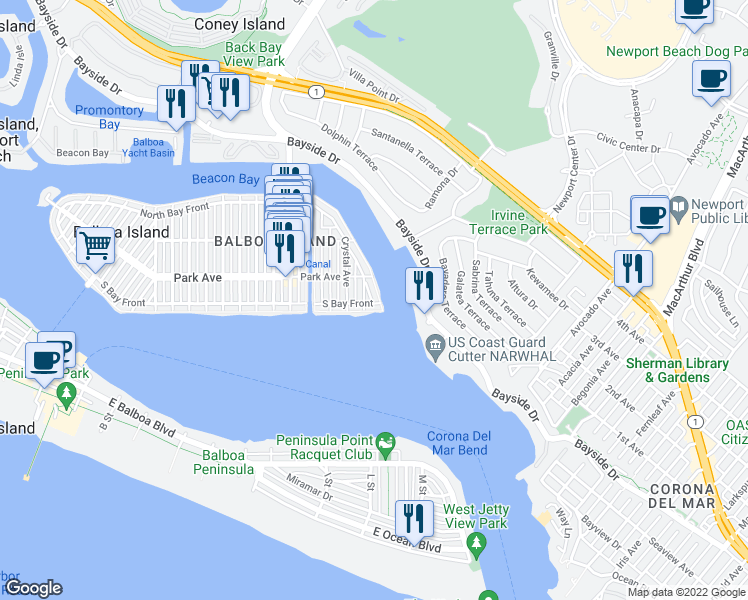 map of restaurants, bars, coffee shops, grocery stores, and more near 111 Jade Avenue in Newport Beach