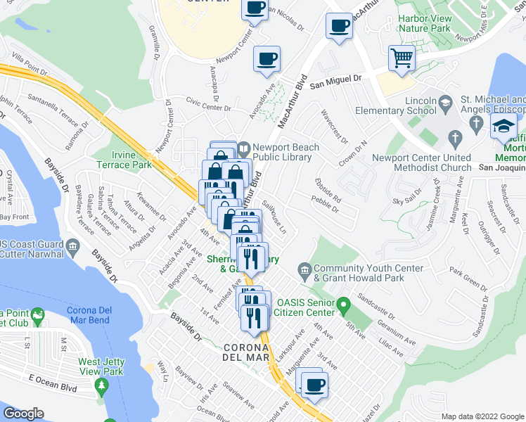 map of restaurants, bars, coffee shops, grocery stores, and more near 2530 Bungalow Place in Newport Beach