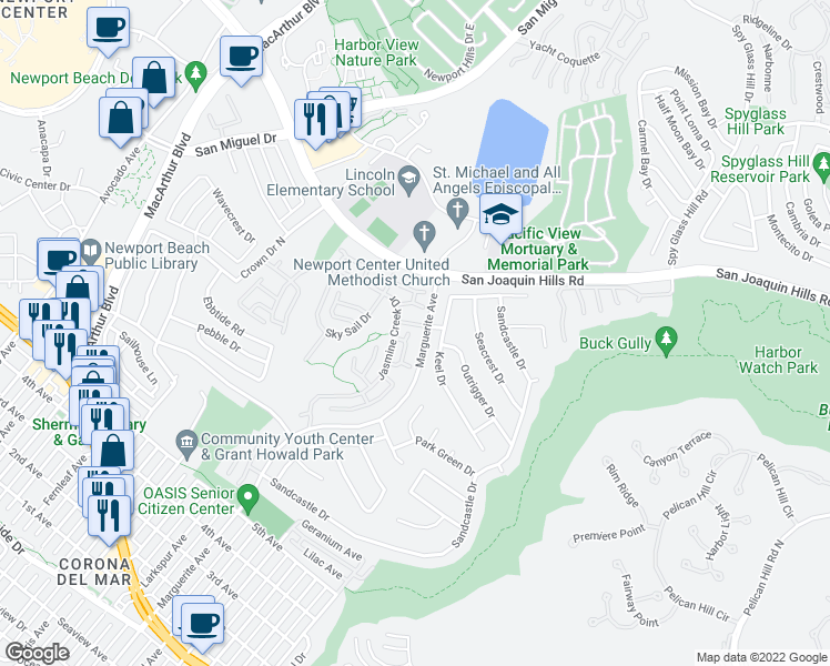map of restaurants, bars, coffee shops, grocery stores, and more near 28 Shoal Drive in Newport Beach