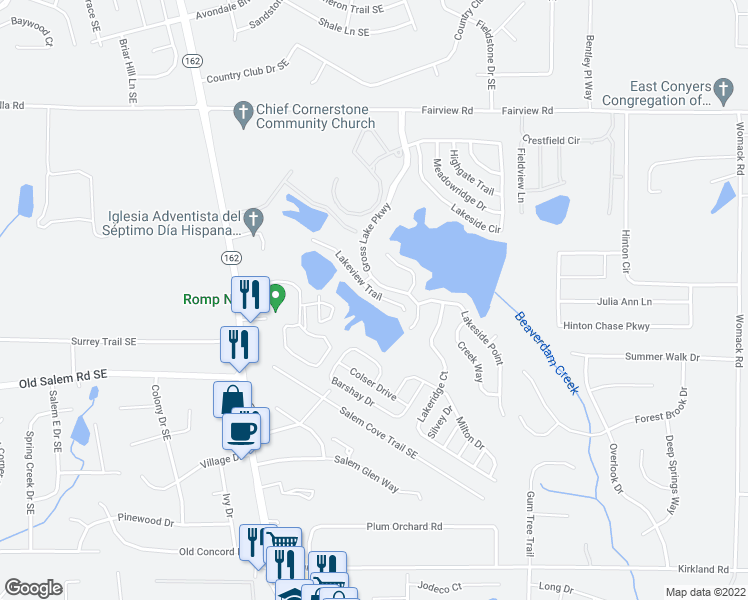 map of restaurants, bars, coffee shops, grocery stores, and more near 235 Lakeview Trail in Covington