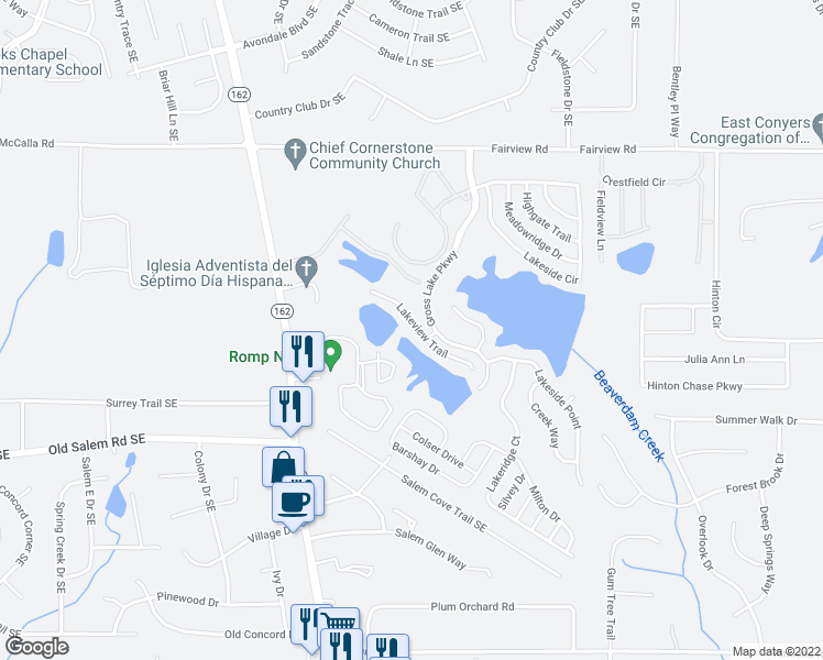 map of restaurants, bars, coffee shops, grocery stores, and more near 145 Lakeview Trail in Covington