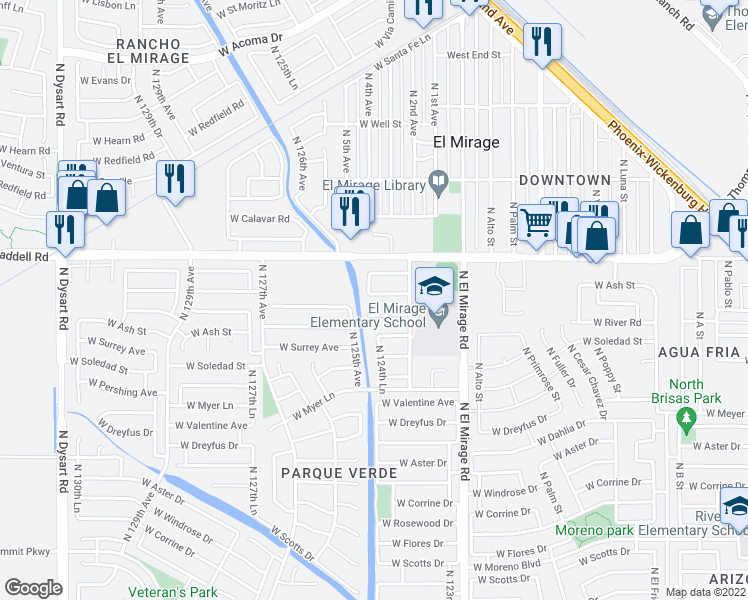 map of restaurants, bars, coffee shops, grocery stores, and more near 12437 West Willow Avenue in El Mirage