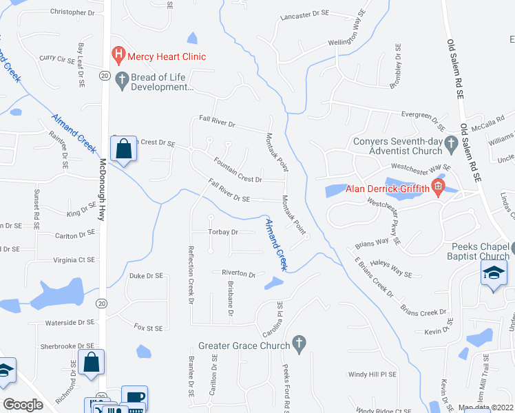 map of restaurants, bars, coffee shops, grocery stores, and more near 1367 Fall River Drive Southeast in Conyers