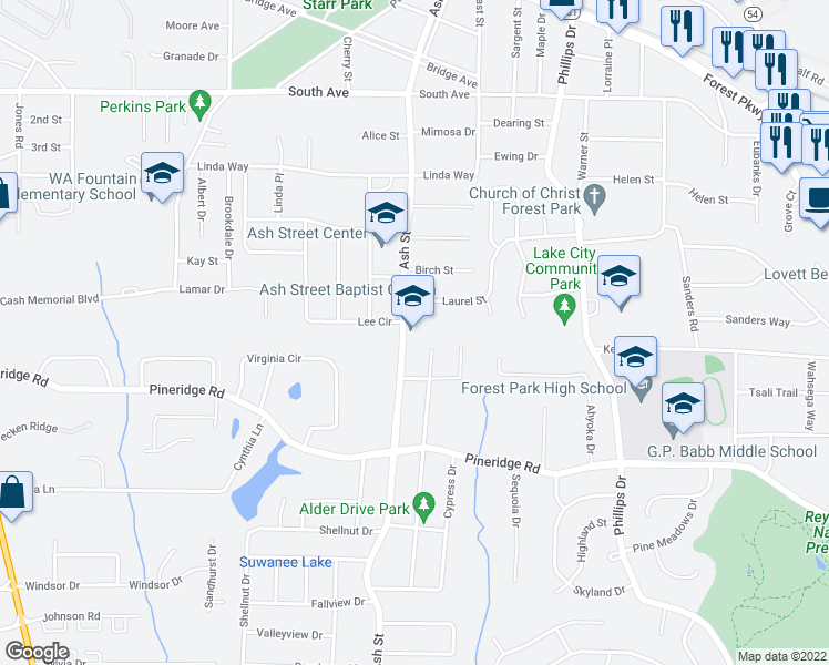 map of restaurants, bars, coffee shops, grocery stores, and more near 5403 Alder Drive in Forest Park