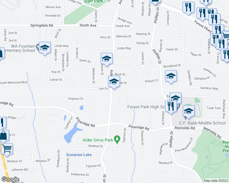 map of restaurants, bars, coffee shops, grocery stores, and more near 5370 Ash Street in Forest Park
