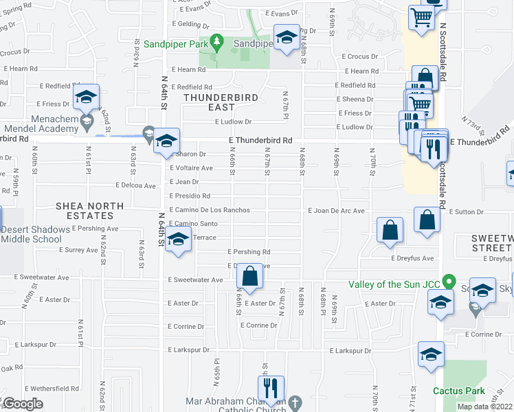map of restaurants, bars, coffee shops, grocery stores, and more near 6640 East Camino De Los Ranchos in Scottsdale